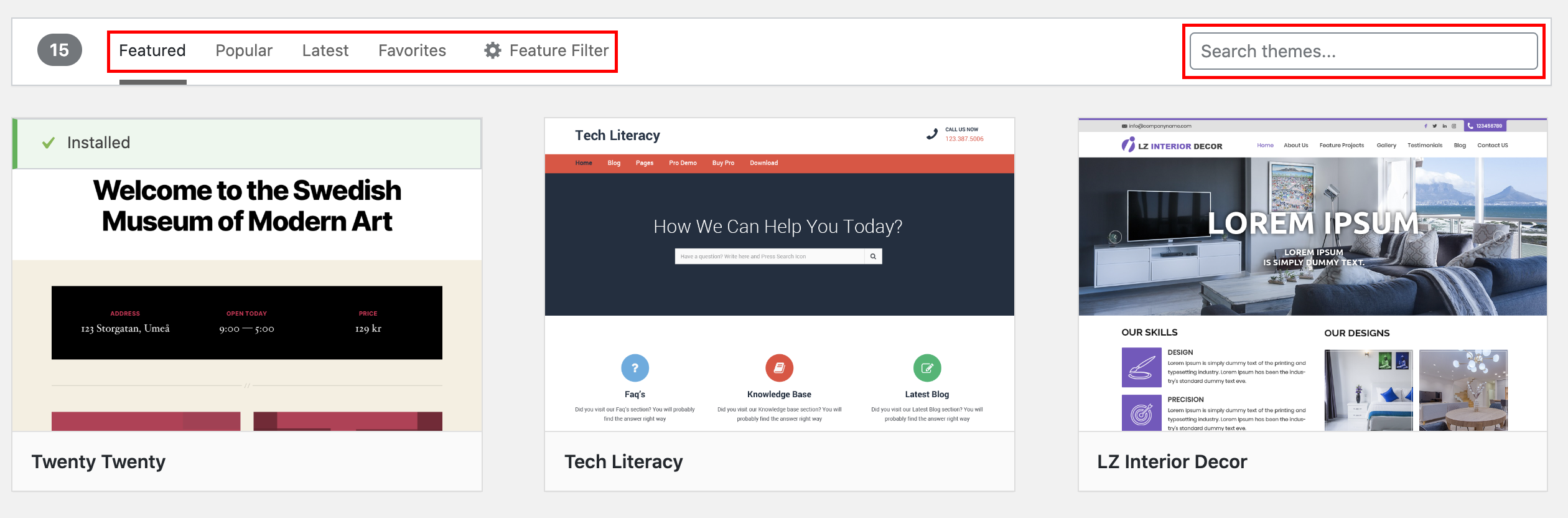 Search new themes for your blog